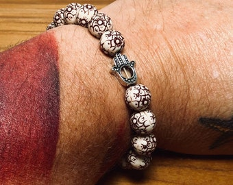 Beaded Bracelet, Floral Wood With Open Hand