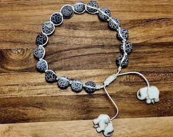 Beaded Bracelet, Crackled Blue