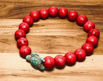 Beaded Bracelet, Red Marbled