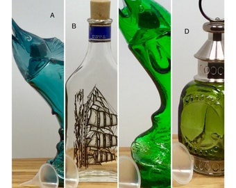 Vintage Cologne Bottles, refillable with funnel - Nautical/Fishing