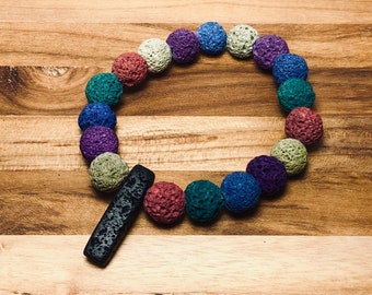 Beaded Bracelet - Lava Stone Rainbow