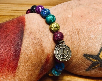 Beaded Bracelet - Marbled Rainbow