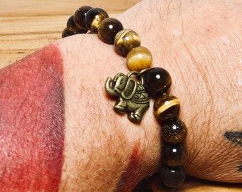 Beaded Bracelet, Brown Cats Eye Stone With Elephant