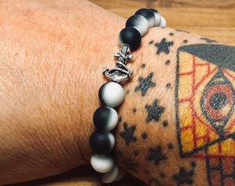 Beaded Bracelet, Black & White With Anchor