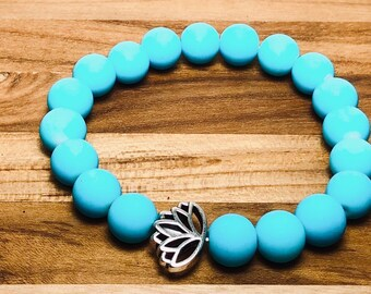 Beaded Bracelet, Bright Turquoise With Lotus Flower