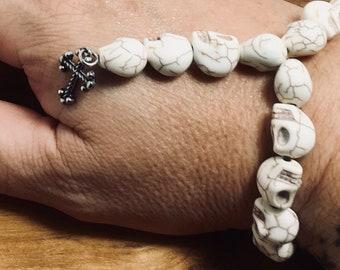 Beaded Bracelet, Mini Rosary - Skull