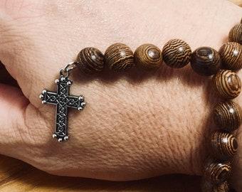 Beaded Bracelet, Mini Rosary - Tiger Wood