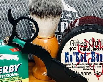 Shaving Kit Travel Bag, Black Straight Razor