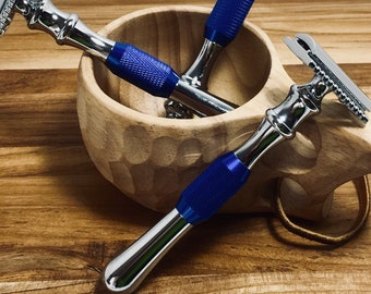 Safety Razor, Chrome & Blue