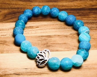 Beaded Bracelet, Crackled Blue With Lotus Flower