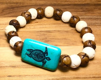 Beaded Bracelet, White & Brown With Turquoise Turtle