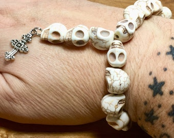 Beaded Bracelet, Mini Skull Rosary