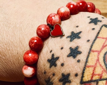 Beaded Bracelet, Red Stone With Heart