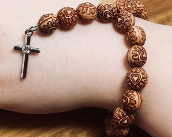 Beaded Bracelet, Mini Rosary - Brown Hearts