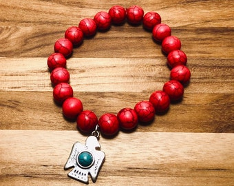 Beaded Bracelet - Red Marbled, Thunderbird