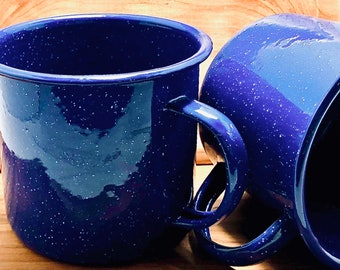 Shave Cup, Blue Enamel