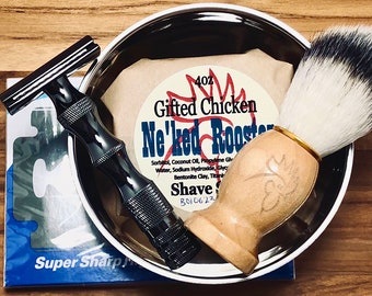 Shaving Cup Set, Safety Razor