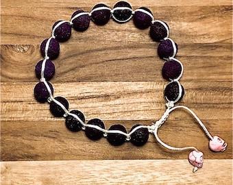 Beaded Bracelet, Purple Lava Stone