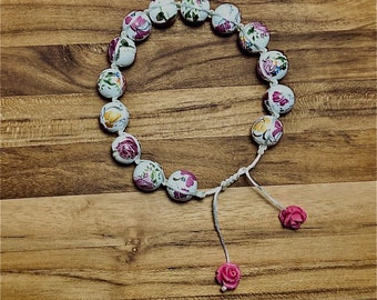 Beaded Bracelet, Floral Ceramic