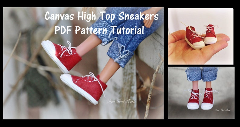 b9d00a531b57dd Canvas High Top Sneakers No Sew Doll Shoes Pattern PDF