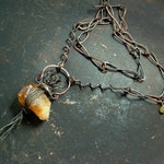 Spell of Binding. Raw Citrine, dark, rustic, edgy, gemstone, magic, ritual, talisman necklace by Vintajia Adornments
