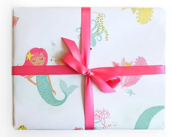 Mermaid Wrapping Paper Sheets, Mermaid gift wrap, under the sea, sea life, Ocean, Birthday wrapping paper, baby shower