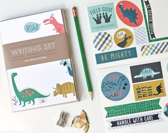 kids stationery, dino, kids writing, pen pal, notepad set, dinosaur stickers
