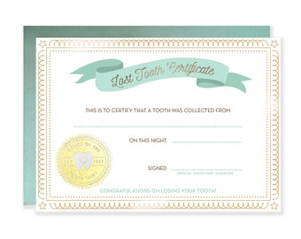 Tooth Fairy  Lost Tooth Certificate