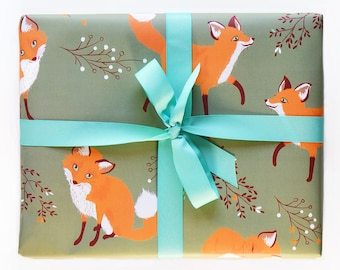 Wrapping Paper Fox Gift Wrap - Forest Woodland Birthday wrapping paper