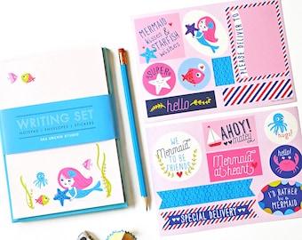 kids stationery,  stationery for girls, kids writing, notepad set, penpal, mermaid, ocean stickers