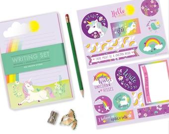 Unicorn Stationery set, kids stationery, writing set for girls, kids writing, notepad set, penpal, unicorn, rainbow stickers