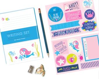 Mermaid Stationery Set,  writing set for girls, mermaid stationery, notepad set, penpal set