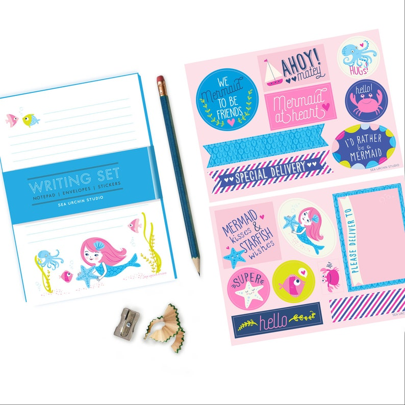 Mermaid Stationery Set  writing set for girls mermaid image 0