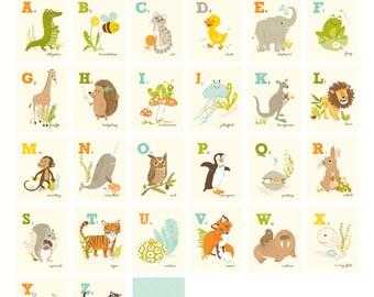 Alphabet wall art, flash cards , A to Z - nursery wall decor for children, 26 CARD SET