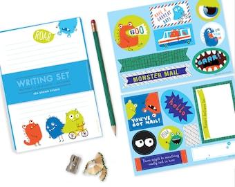 Monster StationerySet,  monster writing set, stationery for boys, kids writing, pen pal set