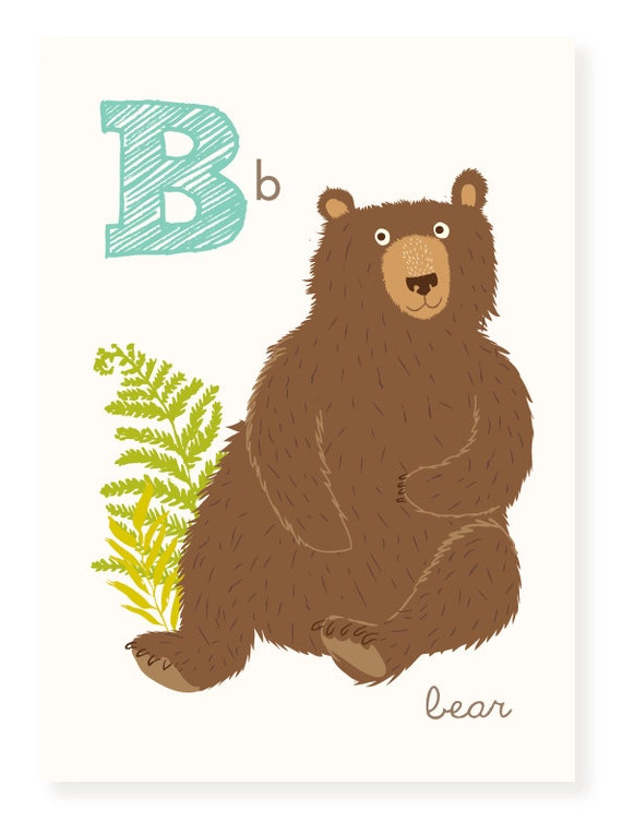 Abc Wall Art Abc Card B Is For Bear Alphabet Flash Cards Etsy