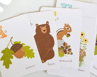 Woodland wall art, Forest ALPHABET print set - nursery wall decor for children, art for kids