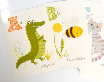 Animal ALPHABET wall art, art for kids, nursery wall decor for baby, baby shower gift