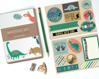Dinosaur Stationery Set, kids stationery, kids writing, pen pal, notepad set, dinosaur stickers, learning to write