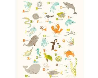 OCEAN wall art,  Sea ABC, ocean Alphabet wall art - nursery wall decor for kids and baby, bathroom art
