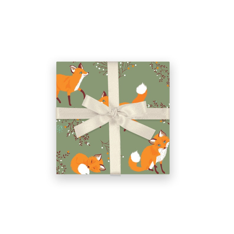 Fox gift wrap fox wrapping Paper Forest Woodland All image 0