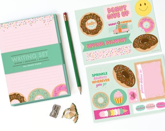 Sweet Shop Donuts Stationery set, kids stationery, writing set for girls, kids writing, notepad set, penpal