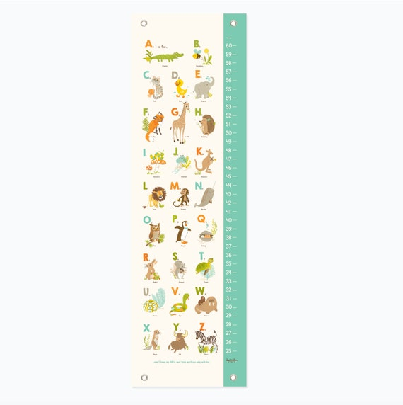 Animals Growth Chart Alphabet Abc Nursery Wall Decor Kids Etsy