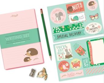 Hedgehog Stationery Set, stationery for girls, kids writing, notepad set, pen pal, woodland