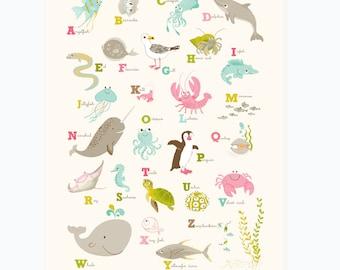 OCEAN Sea ABC Alphabet wall art - nursery bedroom wall decor for kids and baby, bathroom art
