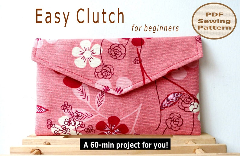 Easy Beginner Clutch INSTANT DOWNLOAD A 60-min PDF Bag Sewing image 0