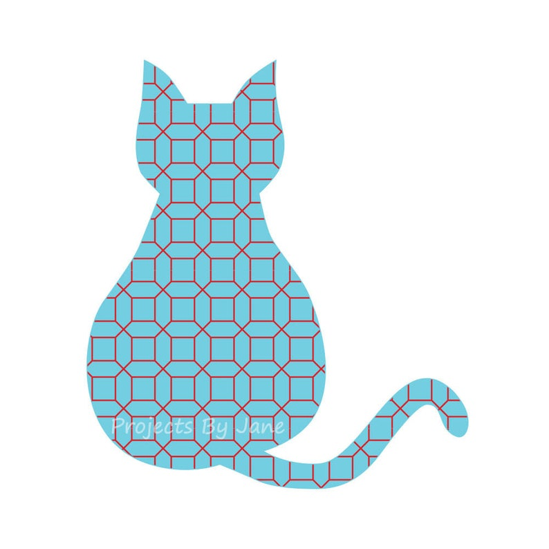 Sitting cat applique template  PDF applique pattern  image 0