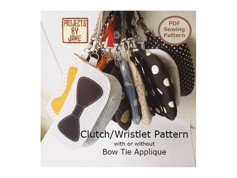 Easy Curvy Clutch/Wristlet Bow Tie Applique INSTANT DOWNLOAD image 0