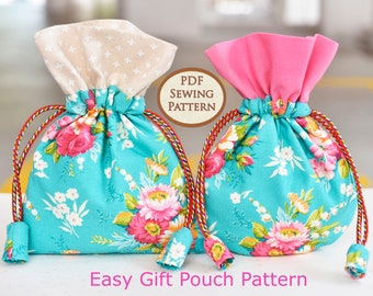 Easy Gift Pouch Pattern | PDF Sewing Pattern | Bag Sewing Pattern |