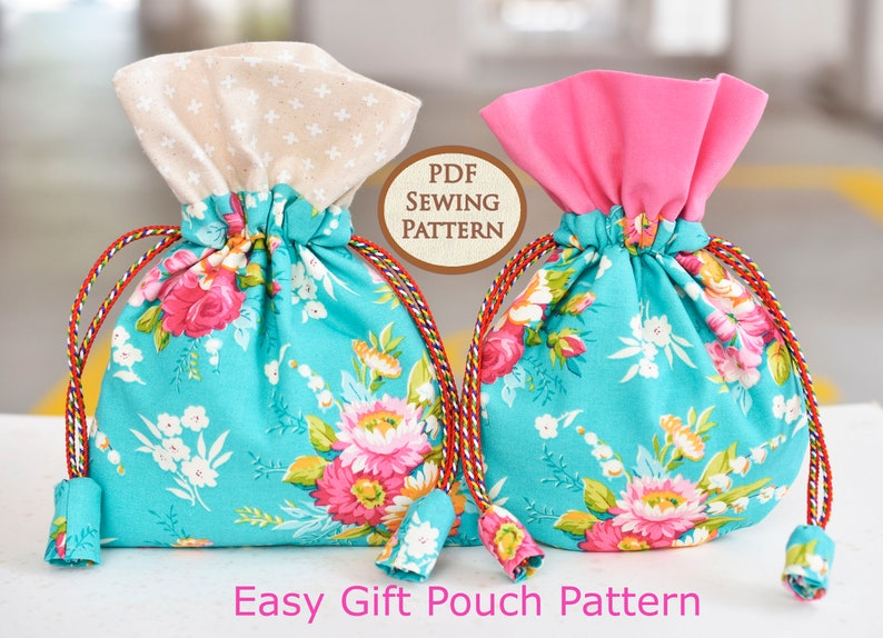 Easy Gift Pouch Pattern  PDF Sewing Pattern  Bag Sewing image 0